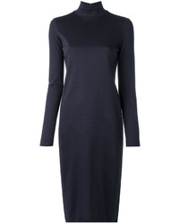 Jil Sander Navy Turtleneck Sweater Dress