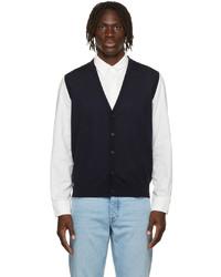 Z Zegna Navy Wool Jersey Vest