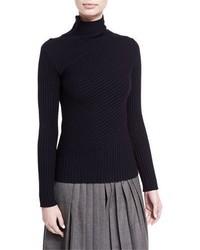 Ralph Lauren Collection Ribbed Merino Wool Blend Mock Neck Sweater