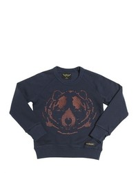 Finger In The Nose Bear Embroidered Cotton Sweatshirt