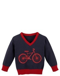 G Cutee Toddler Boys Bicycle V Neck Sweater Navy