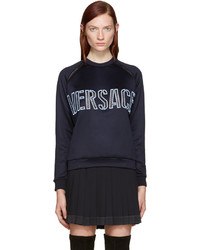 Versace Navy Embroidered Mesh Logo Pullover