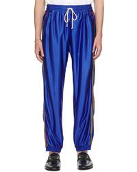 Gucci Blue Shiny Jersey Web Track Pants