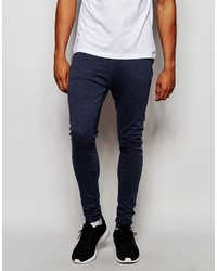 Asos Brand Extreme Super Skinny Joggers In Blue Marl