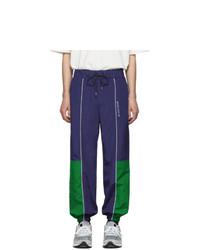 MAISON KITSUNÉ Navy And Green Ader Error Edition Line Track Pants