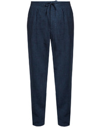 Ermenegildo Zegna Pleated Front Linen Straight Leg Trousers