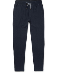 Brunello Cucinelli Slim Fit Tapered Fleece Back Cotton Blend Jersey Sweatpants