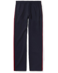 Alexander McQueen Velvet Trimmed Crepe Jersey Drawstring Trousers
