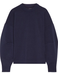 Tibi Gathered Wool Blend Sweatshirt Midnight Blue