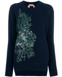 No.21 No21 Floral Sequin Embroidered Sweatshirt
