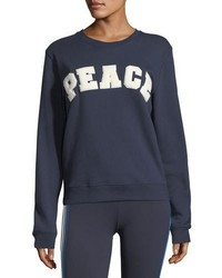 Tory Sport Peace Letterman Crewneck Cotton Sweatshirt