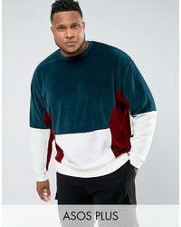 Asos Plus Oversized Cut Sew Sweatshirt In Velour