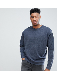 ASOS DESIGN Tall Oversized Sweatshirt With Double Neck In Navy Interest Fabric