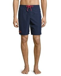 Lacoste Embroidered Crocodile Long Fit Swim Trunks Navy