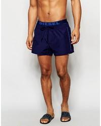 Diesel Logo Waistband Swim Shorts In Shorter Length