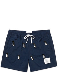 Thom Browne Mid Length Penguin Embroidered Swim Shorts