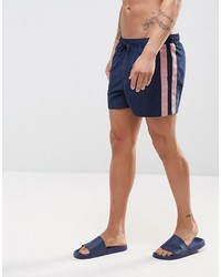 Asos Swim Shorts In Navy With Pink Tape Detail In Short Length