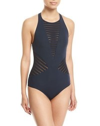 Jets By Jessika Allen Parallels High Neck One Piece Swimsuit Blue