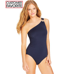 MICHAEL Michael Kors Michl Michl Kors One Shoulder Hardware One Piece Swimsuit