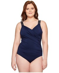 Jantzen Plus Size Solids Novelty Shoulder Draped Surplice One Piece Swimsuits One Piece