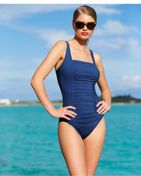 Calvin Klein Solid Pleated One Piece Swimsuit Swimsuit
