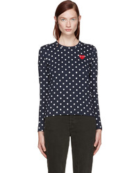 Comme des Garcons Play Navy Polka Dot Heart Patch T Shirt