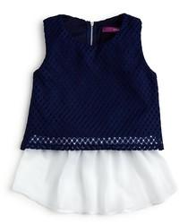 Aqua Girls Chiffon Hem Crochet Tank Sizes S Xl