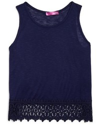 Aqua Girls Crochet Hem Slubbed Tank Sizes S Xl
