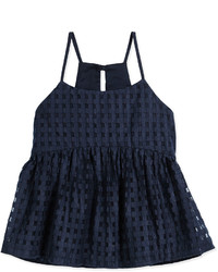 Milly Minis Strappy Mesh Gingham Tank Navy Size 8 14