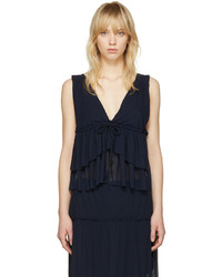 See by Chloe Navy V Neck Tank Top