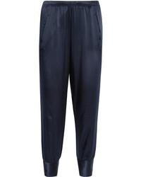 Silk satin tapered pants navy medium 3715868