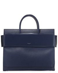 Givenchy Horizon Medium Textured Leather Tote Bag Dark Blue