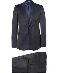 Dolce & Gabbana Blue Slim Fit Pin Dot Wool Three Piece Suit