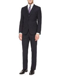 Hugo Boss Boss Textured Donegal Three Piece Suit Navy