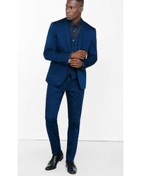 Express Extra Slim Blue Cotton Sateen Suit Pant