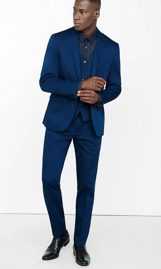7185a45d3 ... Navy Three Piece Suits Express Extra Slim Blue Cotton Sateen Suit Pant  ...