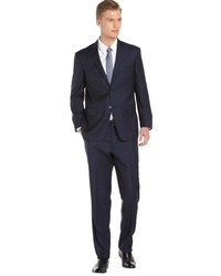 Ike Behar Navy Windowpane Super 100s Wool 2 Button Suit With Flat Front Pants