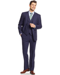 Tommy Hilfiger New Blue Sharkskin Vested Trim Fit Suit