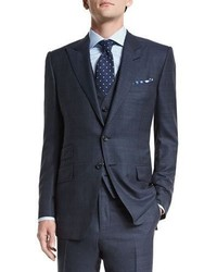 Tom Ford Oconnor Base Prince Of Wales Three Piece Suit Navy