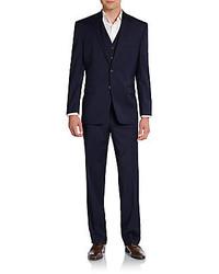 Lauren Ralph Lauren Regular Fit Solid Three Piece Wool Suit