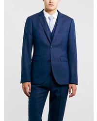 Topman Navy Textured Skinny Suit Jacket
