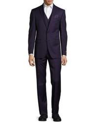Wool Notch Lapel Three Piece Suit