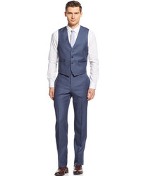 Calvin Klein X Blue Grey Sharkskin Vested Extra Slim Fit Suit ...