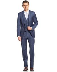 Calvin Klein X Blue Grey Sharkskin Vested Extra Slim Fit Suit