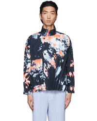 Homme Plissé Issey Miyake Navy Multicolor Print Jacket