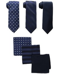 Stacy Adams 3 Pack Tie Assortt With Pocket Squares Ties