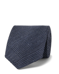 Drake's 8cm Prince Of Wales Checked Silk And Wool Blend Tie