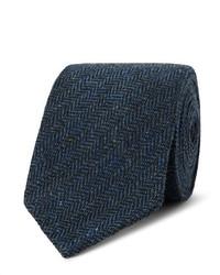 Drakes Drakes 8cm Herrinbgone Wool Tweed Tie