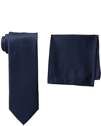 Stacy Adams Tall Plus Size Satin Solid Extra Long Tie Set