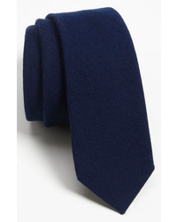The Tie Bar Woven Wool Blend Tie Navy Regular